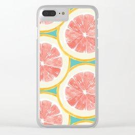 Grapefruit Pattern Clear iPhone Case