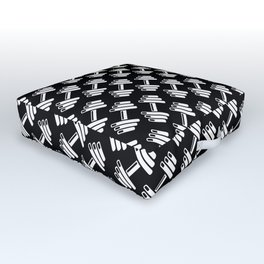 Dumbbellicious inverted / Black and white dumbbell pattern Outdoor Floor Cushion