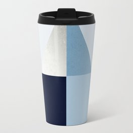 Geometric raindrop - chambray blues Travel Mug