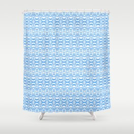 Dividers 07 in Light Blue over White Shower Curtain