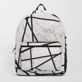 Geometrical black gold faux glitter white marble Backpack
