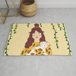 Girl and her puppy dog  Rug