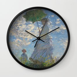 Woman with a Parasol - Madame Monet and Her Son Wall Clock