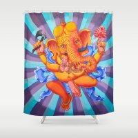 ganesh Shower Curtains featuring Ganesh by brianbatista