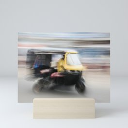 Yellow scooter drives on the street in Orissa India   Travel Photography Mini Art Print