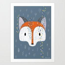 Pencil Fox Art Print