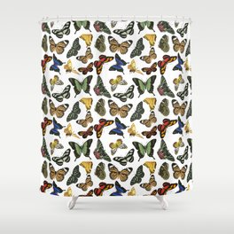 Vintage Butterflies | Butterfly Pattern | Multi-colored | Shower Curtain