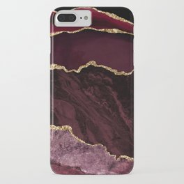 Burgundy & Gold Agate Texture 02 iPhone Case