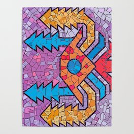 Colourful mosaic UFO Terrazzo Blobs Poster