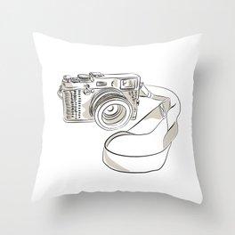 35mm SLR Film Camera Drawing Throw Pillow
