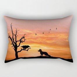 Fox and raven Rectangular Pillow