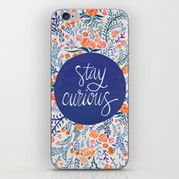 navy iPhone & iPod Skins featuring Stay Curious – Navy & Coral by Cat Coquillette