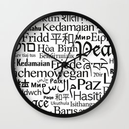 IMAGINE PEACE...  Say peace in 47 languages... Wall Clock