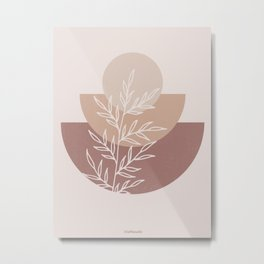 Half Circles Neutral Metal Print