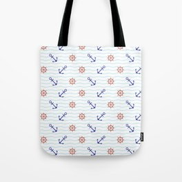 The thalassophile (a lover of the sea) - Anchor and Helm Seamless Pattern illustration Tote Bag