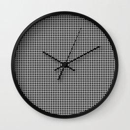 White On Black Grid Wall Clock