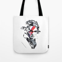 beethoven Tote Bags featuring Bowie Beethoven by Komrod