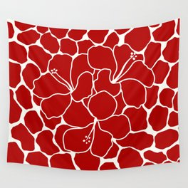 Hibiscus Animal RED IVORY Wall Tapestry