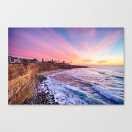 Sunset at the cliffs Canvas Print