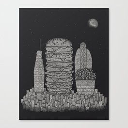 Fast Food City Canvas Print