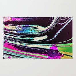 Lines and spots of color abstract digital painting Rug