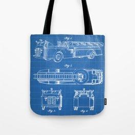 Fire Truck Patent - Aerial Fireman Truck Art - Blueprint Tote Bag