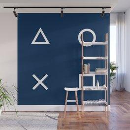 Gamepad Symbols Pattern - Navy Blue Wall Mural