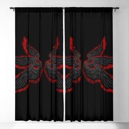 Black Red Archangel Wings Blackout Curtain