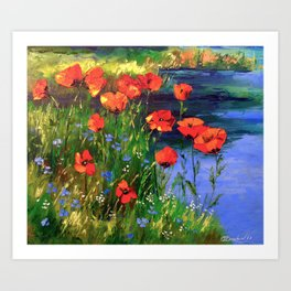 Poppies at the pond Art Print