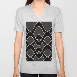 Curvlinear in black , white and gray Unisex V-Neck