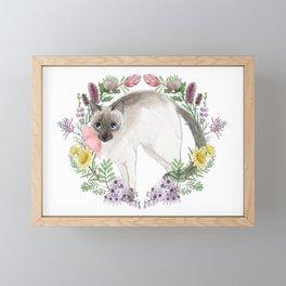 Pixie the Chocolate Siamese Cat Framed Mini Art Print