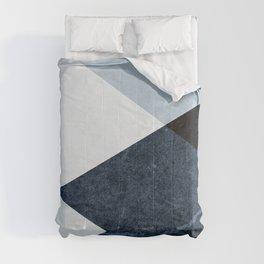 Geometrics II - blue marble & silver Comforters