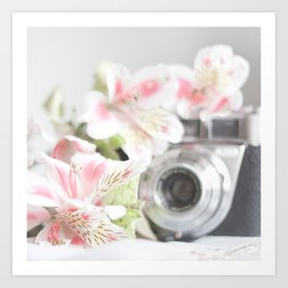 Pink flower and bokeh camera in the morning (Still Life Photography)  Art Print