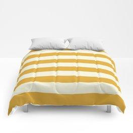 Yellow Mustard Stripe Line Bold Stripes Lines Comforters