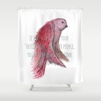 text Shower Curtains featuring birdy text!  by gasponce