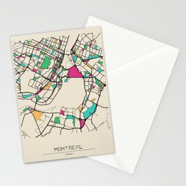 Colorful City Maps: Montreal, Canada Stationery Cards