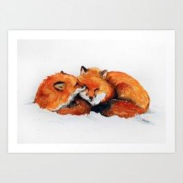 Fox watercolor by Anne Gorywine Art Print