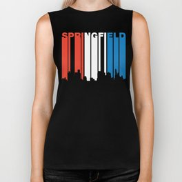 Red White And Blue Springfield Illinois Skyline Biker Tank