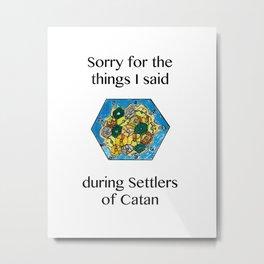 Catan, Settlers of Catan, Board Game, Geek Art, Nerd Art Metal Print