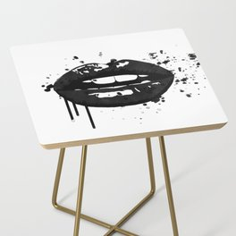 Black and white glamour fashion lips Side Table