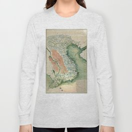 Yuenan Quan Jing Yu Tu (Map of Vietnam circa 1885) Long Sleeve T-shirt
