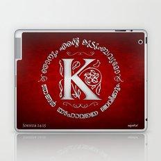 Joshua 24:15 - (Silver on Red) Monogram K Laptop & iPad Skin