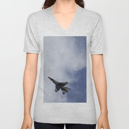 Thunderbird F16 F-16 Fighting Falcon Fighter Aircraft/Airplane Unisex V-Neck