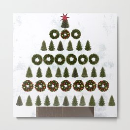 Xmas tree of trees and wreaths Metal Print