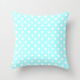 Small Polka Dots - White on Celeste Cyan Throw Pillow