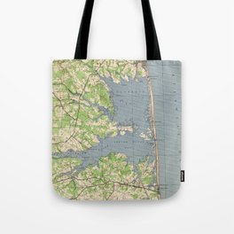 Vintage Rehoboth & Bethany Beach DE Map (1944) Tote Bag