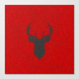 Antiallergenic Hand Knitted Deer Winter Wool Texture - Mix&Match with Simplicty of life Canvas Print