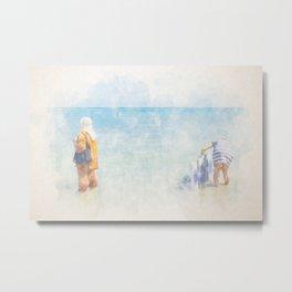 Two womans taking bath. Watercolor. Metal Print