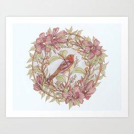 Magnolia And Marigold Wreath With Songbird Art Print