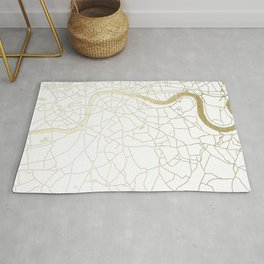 London White on Gold Street Map Rug
